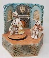 Vintage Antietam Ceramics Music Box - Large Revolving Rabbits - Narco Japan Box