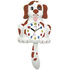 JVD HF61.1 Wanduhr für Kinder Kinderwanduhr Hund Hundeuhr mit Pendel