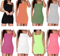 WOMEN'S LADIES SQUARE NECK RIBBED BODYCON MINI DRESS TOP NEW UK SIZE 8-14