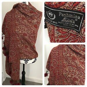 Pashmina ashma Italian made 50% Silk 50% wool Red burgundy gold shawl scarf