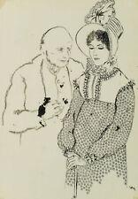 E. KLEPPER (*1906), Ein ungleiches Paar, Frau mit Bonnet, 20. Jhd., Fdrzchng.