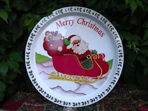 Tin Serving Tray Santa Claus Father Christmas on Sleigh with Sack of Toys !