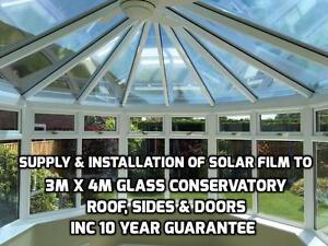 Supply & Installation of solar film to 4m x 3m Glass Conservatory inc 10yr Guar
