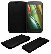 ACM-LEATHER PREMIUM BLACK FLIP CASE for MOTOROLA MOTO E3 POWER MOBILE FULL COVER