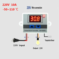 12/220V Temperature Controller 10A Thermostat Control Switch +Probe Digital LED