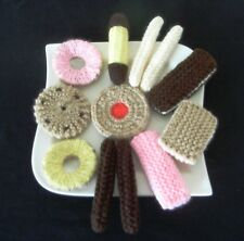 12 Hand Knitted Assorted Biscuits - Toy Food