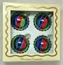 4 Christmas Multicolored Swirled Christmas Tree Ornaments