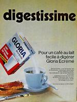 PUBLICITÉ DE PRESSE 1967 GLORIA ÉCRÉMÉ EN POUDRE DIGESTISSIME
