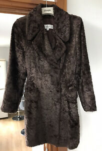 NEXT BROWN FAUX FUR DOUBLE BREASTED FRONT POCKETS FULLY LINED SIZE 8 LADIES COAT