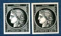 170 ans premier timbre France 20c noir réédition la paire 0.88 € + 0.20 €