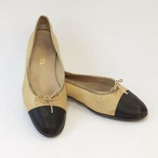 Chanel Ballet Flats 42 Tan/Black Leather Cap Toe Shoes   Heavily Worn & Resoled!