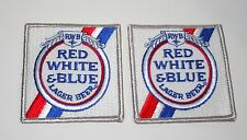 2 Rare RWB Red White & Blue Lager Beer Distributor Cloth Patch 1970s NOS New