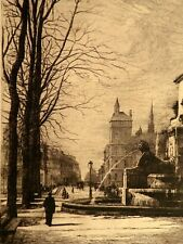 Magnifique vue de Paris - Place du Châtelet Fontaine Dessin Lucien Gautier 1882