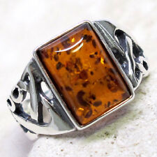 CLASSY NATURAL BALTIC AMBER 925 STERLING SILVER RING SIZE 5