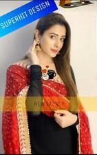 Pakistani Wedding Designer Black Dupatta Palazzo Kurta Indian Ethnic Kurti Dress