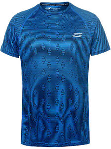 Mens New Skechers BLUE Aeon Printed Sports Gym Exercise Fitness T-Shirt Size M