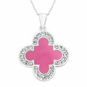 """Marie Claire Pink Enamel Clover Pendant Swarovski  Crystals and Necklace 18 """""""