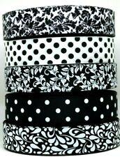 "Grosgrain Ribbon 5 yd 1.5"" Mixed Lot Black & White Swirls Damask Pattern Printed"