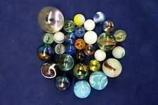 (29) Vintage Lot Glass Marbles Mixed Lot Carnival Iridescent Clear Swirl