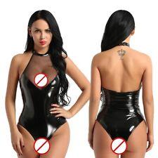 Women's Wetlook Faux Leather Backless Catsuit Bodysuit Leotard Clubwear Jumpsuit