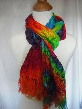 Tie dye rainbow silk cut velvet scarf