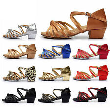Ballroom Salsa tango heeled latin dance shoes children girls women size 24-41