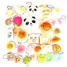 18Pcs Random Squishy Key Chain Donuts/Panda/Bread/Buns/Ice Cream Phone Straps