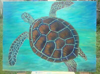 Original Acrylic Painting12 x16 Sea Turtle Canvas Panel, Beach, Coastal Art