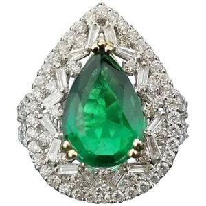 Green Pear Emerald Cocktail Ring Halo with Sim Diamond Solid 925 Sterling Silver