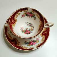 """TUSCAN TEACUP AND SAUCER CABBAGE ROSE FLORAL & BURGUNDY """"NAPLES"""" MADE IN ENGLAND"""