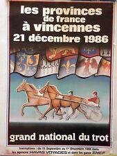 POSTER GRAND NATIONAL DU TROT VINCENNES 21 DECEMBRE 1986