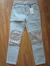 WOMENS FOREVER 21 HIGH RISE STRAIGHT LEG JEANS SEQUINS GLITTER SPARKLE SIZE 25