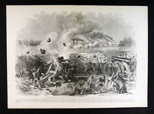 Leslie Civil War Print - Fort Henry Bombardment by Ironclads on Tennessee River