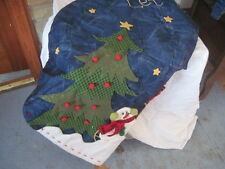 "Christmas Tree Skirt 3D Soft Sclupture Snowmen Snowman Stars for 42"" LET IT SNOW"