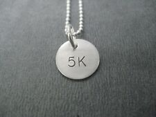 5K Sterling Silver Necklace on 18inch Sterling Silver Ball Chain~5K Road Race