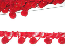 "Pom Pom Fringe Trim 1/2"" Ball Top Quality 6 Yard Bolt Red & Gold  FREE SHIP USA"