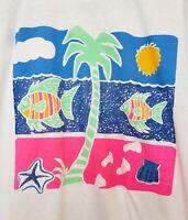 Vintage 90s NEON Fish California Solar T Shirt RARE - XL