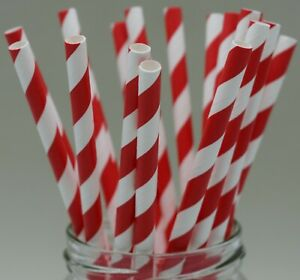 Red and white paper straws party christmas xmas 25/50/100/250/500/750/1000 UK