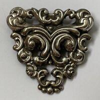 Vintage Art Nouveau Style Silver Tone Repousse Brooch Pin Lightweight