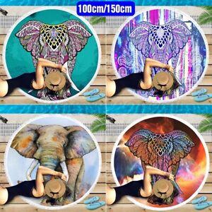 Round Tassel Elephant Pattern Beach Towel Summer Sunbath Blanket Picnic Yoga