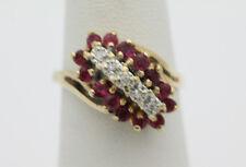 10k Yellow Gold YG Sparke Pink Sapphire Diamond Chip Waterfall Ring Sz 6 GG767
