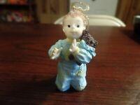 """2 1/2"""" Tall Resin Boy Praying W/Teddy Bear Christmas Ornament #4724"""