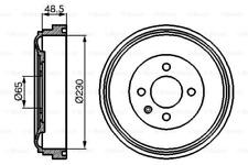 2x Bremstrommel für Bremsanlage Hinterachse BOSCH 0 986 477 036