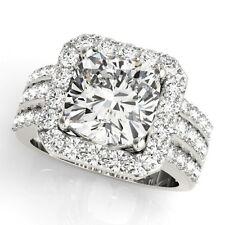 NEW 14k WHITE GOLD SEMI-MOUNT THREE ROW DIAMOND CUSHION CUT HALO ENGAGEMENT RING