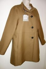 Camel colour 100% Wool coat with black buttons by Uterque, size 14