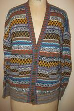 Vintage MISSONI Multi-colored Patterned Linen & Cotton Cardigan Sweater ITALY