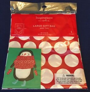 """Hallmark Large Christmas Gift Bag w/ Tag 36"""" x 44"""" Red White Dots Plastic - NEW"""