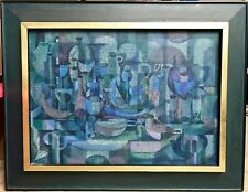 ABSTRACT PAINTING WIFREDO LAM STYLE Signed Mid Century CUBIST Finland Frame Art