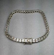 "Sterling Silver & Princess Cut CZ 925 Jewelry Tennis Bracelet 7"""