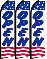 Open King Size Swooper Flag banner sign pk of 3